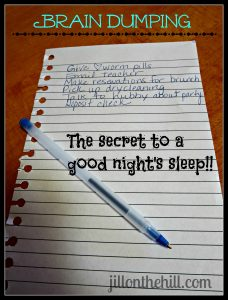 Braindumping…the secret to a good night's sleep!