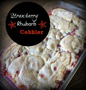How to use up that rhubarb- part 1 (Strawberry Rhubarb Cobbler)