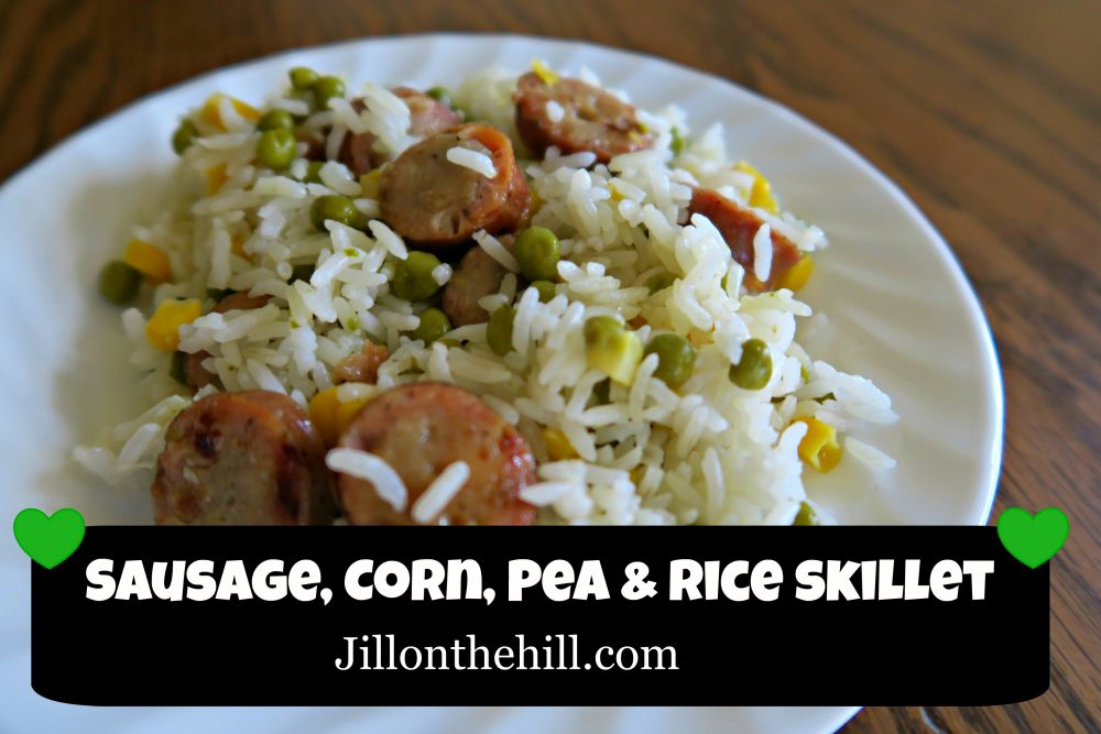 Sausage, Corn, Pea and Rice Skillet