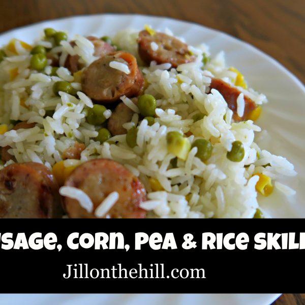 Sausage, Corn, Pea and Rice Skillet
